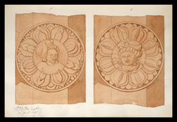 Two drawings of sculpture on the stupa rail at Bodhgaya (Bihar), made by Kittoe during his investigation of the site. January 1847. 3